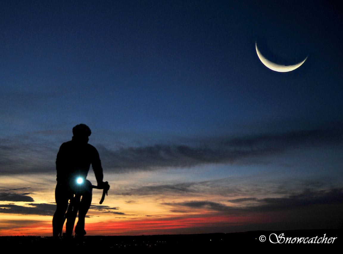 Cycling Beneath the Twilight of a Sliver Moon
